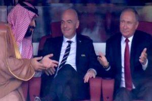 بالفيديو : ردود افعال غريبة بعد هدف روسيا الخامس فى مرمى السعودية