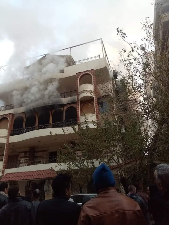 صور لحريق منزل إيهاب توفيق