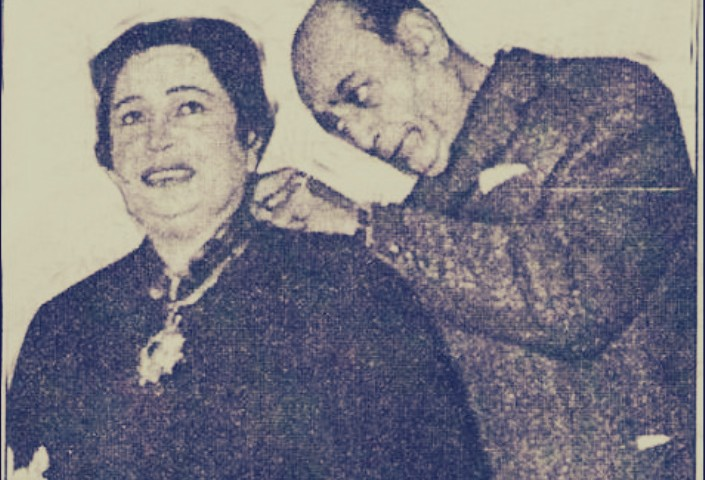 محمود المليجي وزوجته علوية جميل